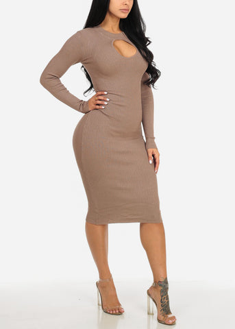 Taupe Long Sleeve Sweater Midi Dress with Keyhole Mock Neck