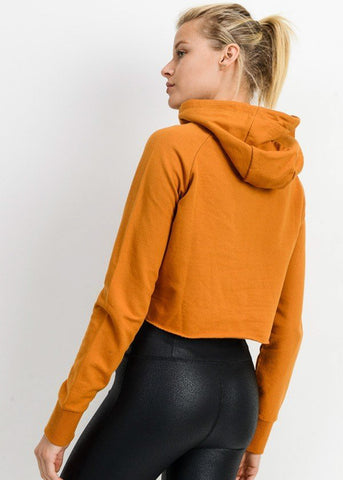 Image of Long Sleeve Gold Cropped Pullover