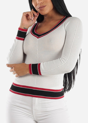Image of Long Sleeve Ribbed White Sweater