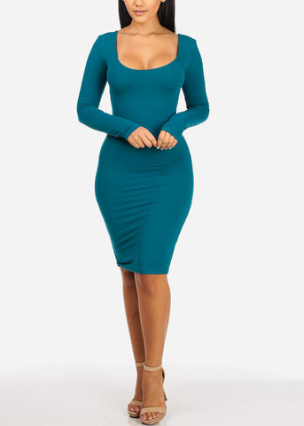 Image of Sexy Stretchy Teal Bodycon Dress