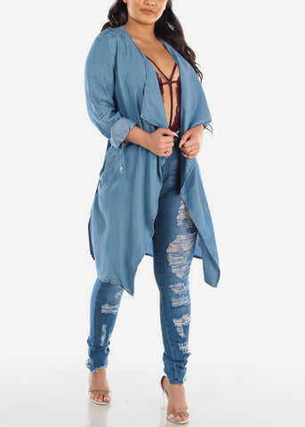 Image of Stylish Lightweight Denim Coat