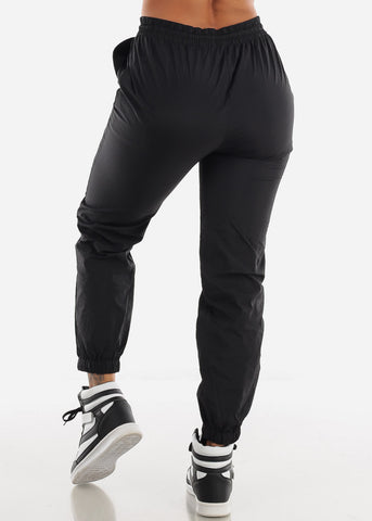 High Waisted Black Nylon Jogger Sweatpants