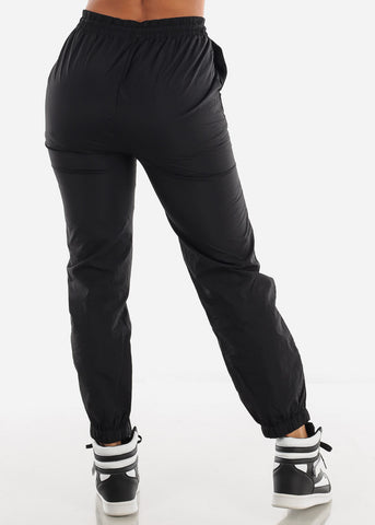 Image of High Waisted Black Nylon Jogger Sweatpants