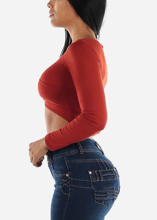 Wrap Front Brick Ribbed Crop Top
