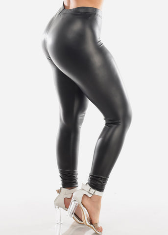 Sexy Faux Leather Mid Rise Stretchy Black Leggings Clubwear Night Out