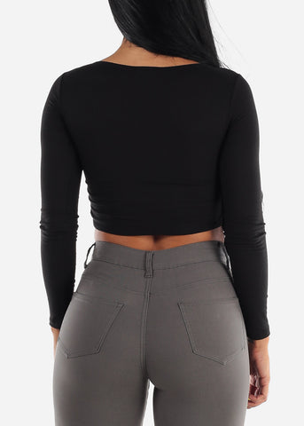 Wrap Front Black Ribbed Crop Top