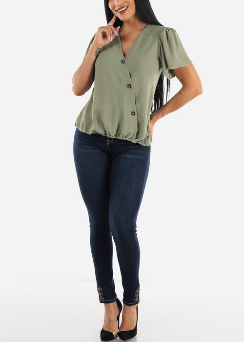 Stretchy Olive Wrap Top