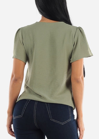 Image of Stretchy Olive Wrap Top