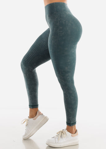 Image of Olive Moto Leggings