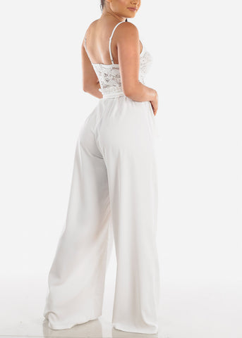 Image of Partial Floral Lace White Jumpsuit