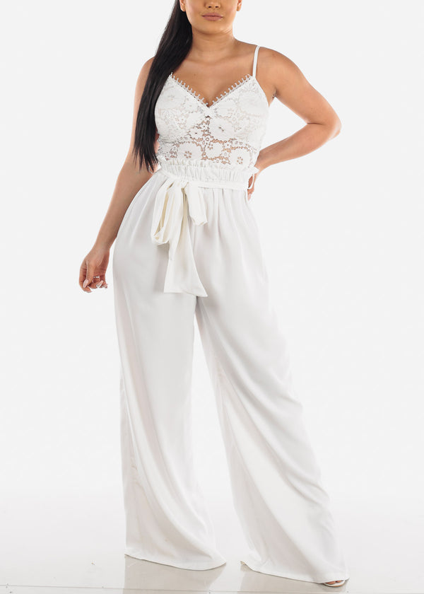Partial Floral Lace White Jumpsuit