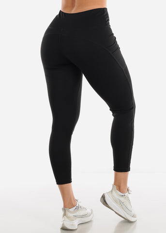 Activewear Mesh Detail Black Leggings