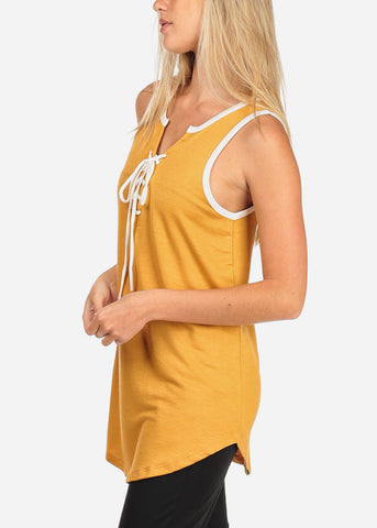 Image of Women's Junior Ladies Casual Sporty Sleeveless Lace Up V Neckline Super Stretchy Comfy Mustard Sleeveless Tank Tunic Top