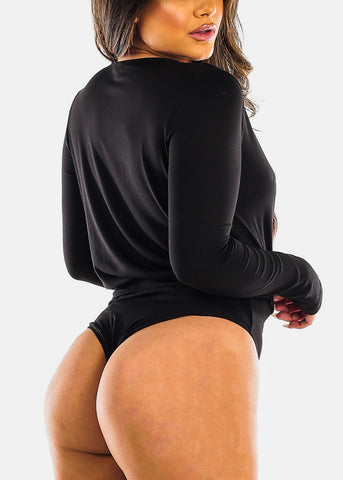 Image of Wrap Front V Neck Black Bodysuit