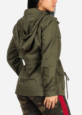 Olive Zip Up Jacket W Hood