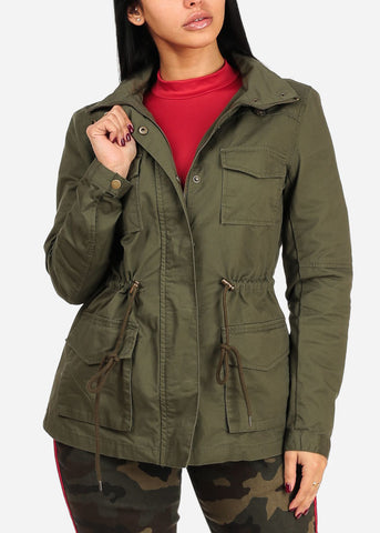 Cotton Cargo Style Long Sleeve Front Pockets Zip Up Olive Jacket W Hood