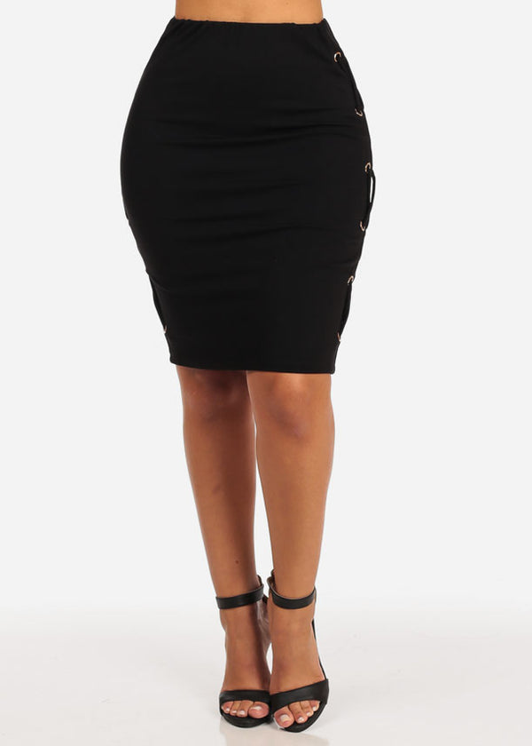 High Rise Black Slim Fit Stretchy Skirt