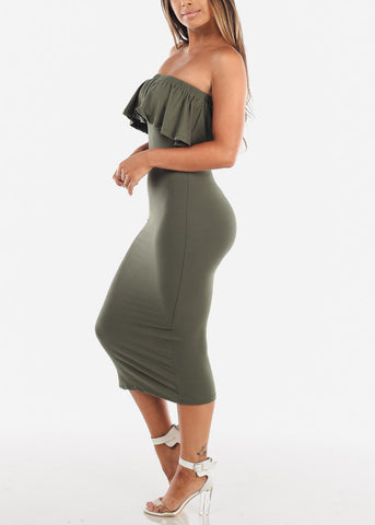 Image of Strapless Olive Bodycon Midi Dress