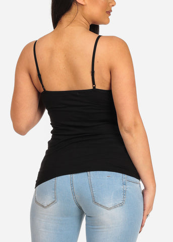 Women's Junior Essential Solid Color Stretchy Under Shirt Camisole Adjustable Spaghetti Strap Black Shirt Tank Top