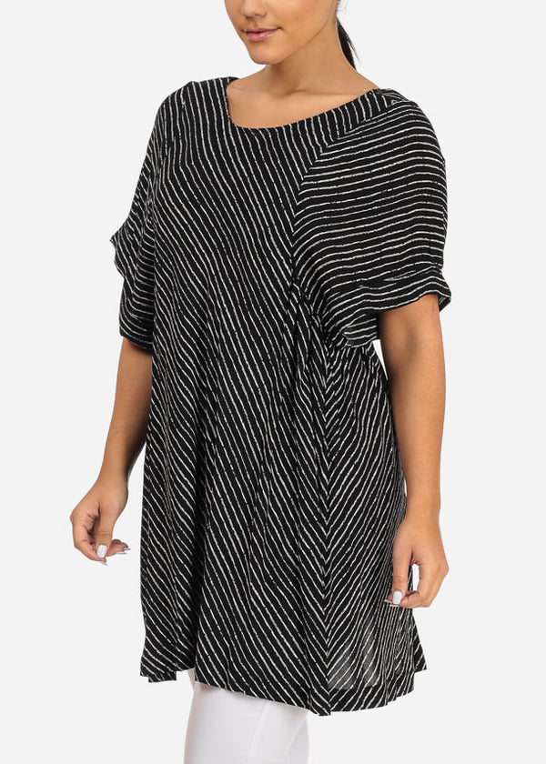 Casual Black Stripe Tunic W Back Slit