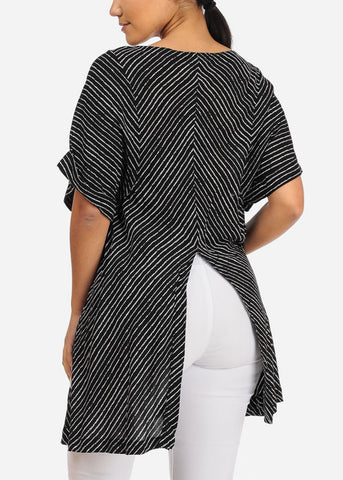 Image of Casual Black Stripe Tunic W Back Slit