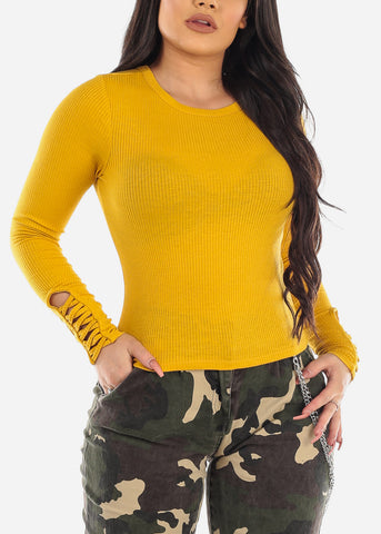 Strappy Detail Mustard Ribbed Top