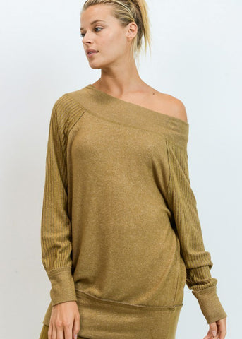 Off Shoulder Ribbed Olive Tunic Top