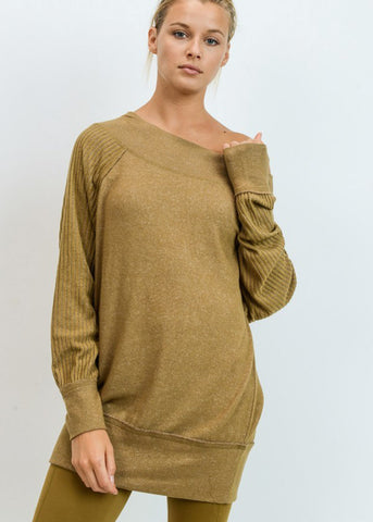 Image of Off Shoulder Ribbed Olive Tunic Top