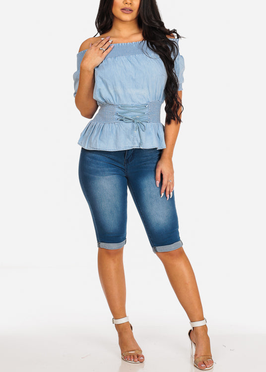 Denim Off Shoulder Stretchy Top