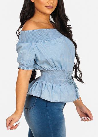 Image of Cute Stylish Denim Off Shoulder Stretchy Top