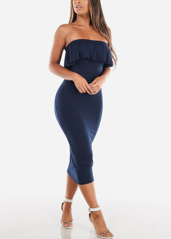 Strapless Navy Bodycon Midi Dress
