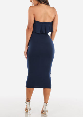 Image of Strapless Navy Bodycon Midi Dress