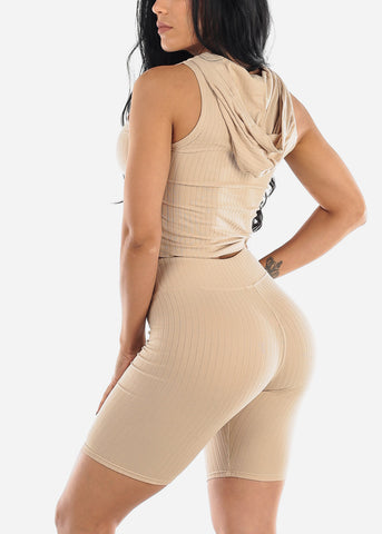 Image of Ribbed Beige Top & Bermuda Shorts (2 PCE SET)