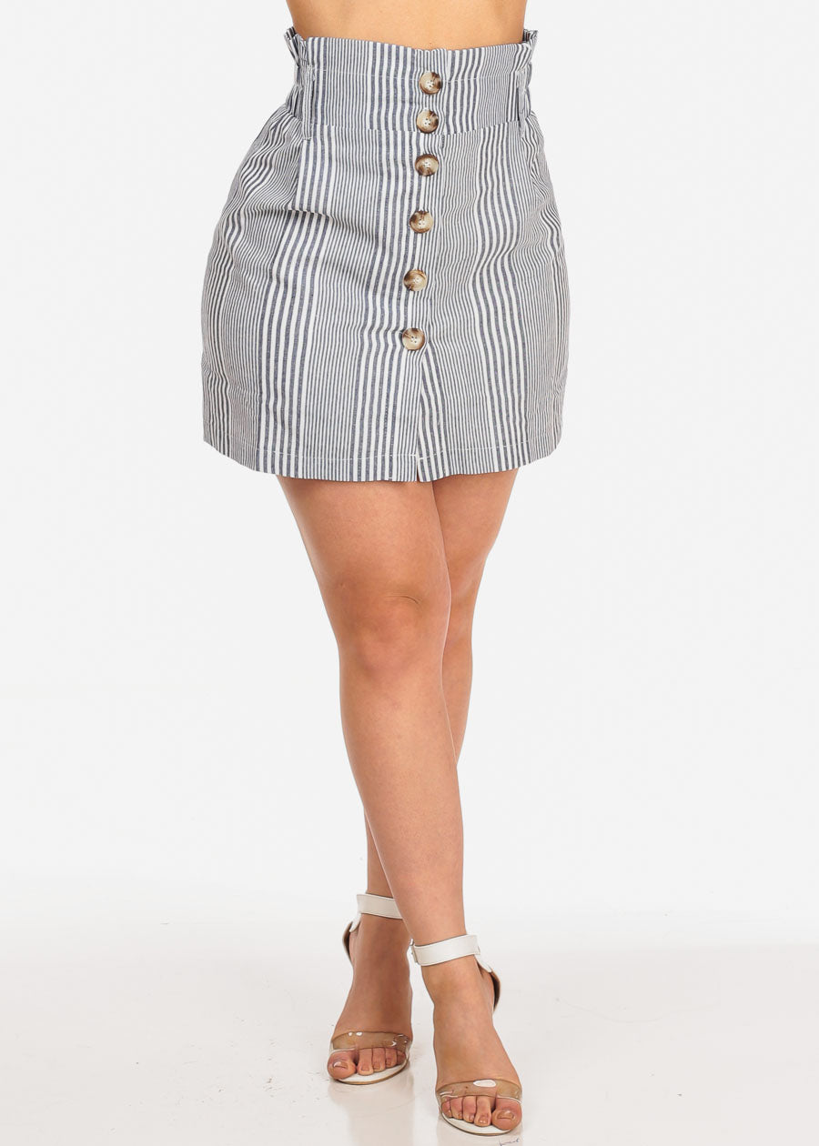 Women's Junior Summer Light Lightweight Button Up Blue Stripe Mini Skirt