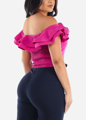 Off Shoulder Ruffled Fuchsia Crop Top