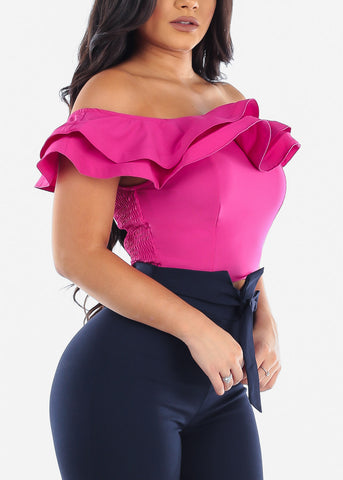 Women's Junior Ladies Sexy Off Shoulder Ruffle Solid Fuchsia Crop Top