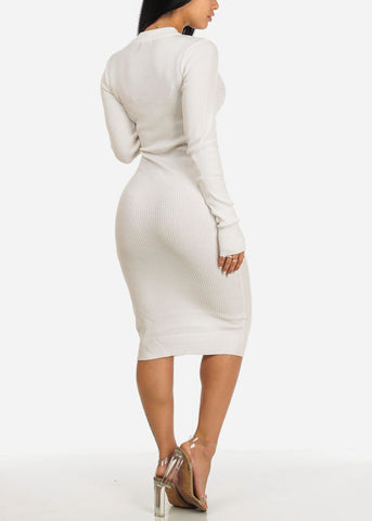 Image of White Long Sleeve Sweater Midi Dress with Keyhole Mock Neck