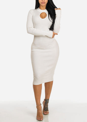 White Long Sleeve Sweater Midi Dress with Keyhole Mock Neck