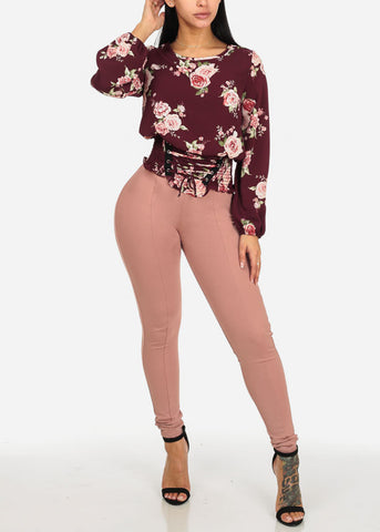 Image of Burgundy Floral Print Blouse