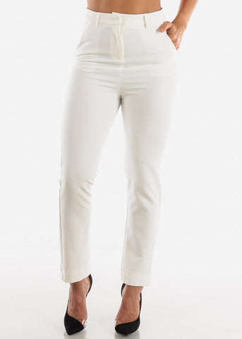Image of White Career Wear Pants