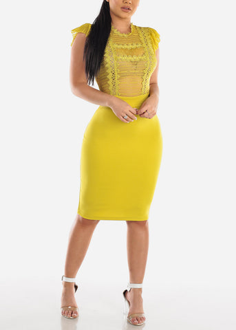 Sexy Floral Lace Lime Midi Dress