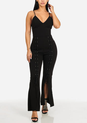 Image of Sexy Lace Up Details Black Jumpsuit