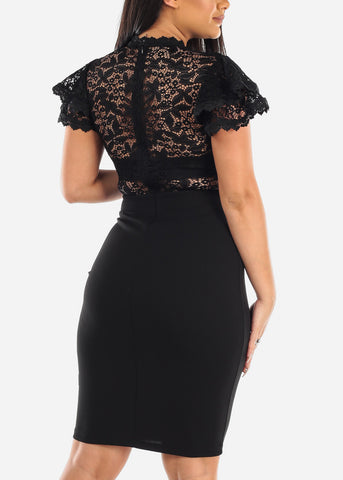 Partial Floral Lace Short Ruffle Sleeves Mesh Black Bodycon Midi Dress