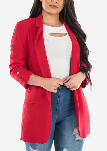 Classic Open Front Business Career Professional Wear Solid Red Blazer For Women Ladies Junior
