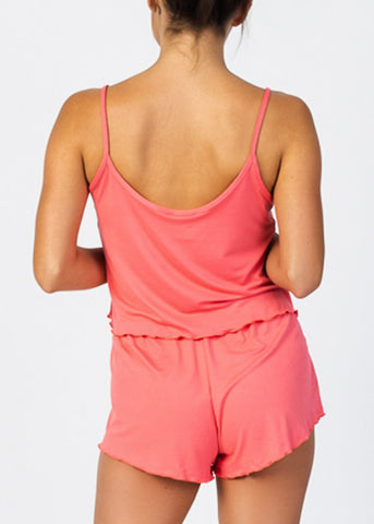 Image of Coral Crop Tank Top & Shorts (2 PCE SET)