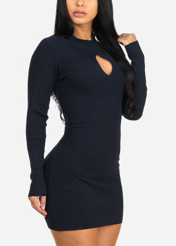 Image of Navy Bodycon Mini Dress
