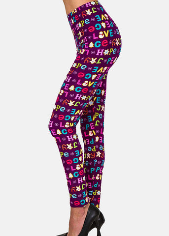 Image of Word Print High Waisted Leggings