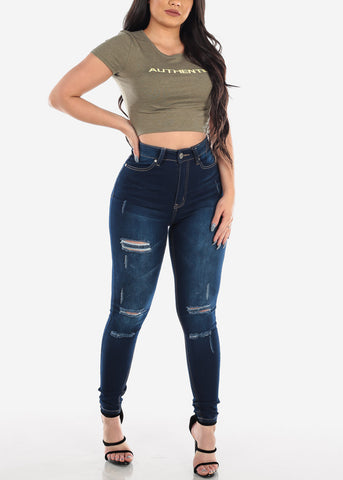 Image of MX Ultra High Waisted Distressed Skinny Jeans