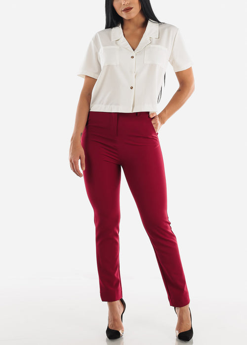 Burgundy Career Wear Pants