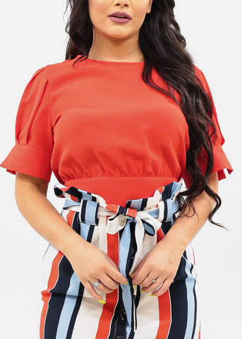 Image of Women's Junior Ladies Must Have Stylish Sexy Short Sleeve Round Neckline Summer Lightweight Back Button Up Detail And Bow Tie Red Crop Top